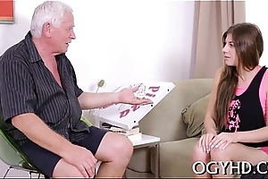 Youthful active girl blows old ramrod