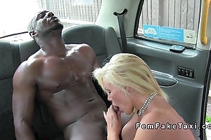 Thankful busty cab driver interracial banging