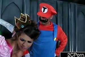 Brunette fucked hard by 2 mario bros