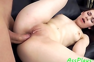 Petite babe anally banged by big cock