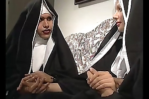 Two nuns are comforting a sister, balk she don'_t understand they'_re two horny shemales!