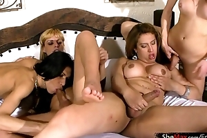 Bigtitted shemale sits her swollen asshole on everlasting cock