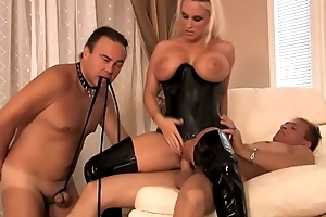 Busty dominant milf wife in latex loves cuckold sex with will not hear of husband