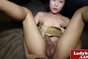 Cute amateurish ladyboy solo toying her fine ass