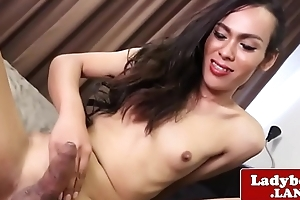 Smalltitted ladyboy stroking her uncut cock