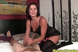 Dressed to kill milf stroking load of shit sensually