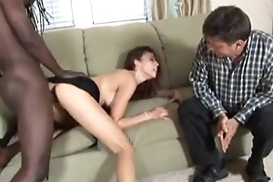 Lame husband watches wife fuck a black.guy