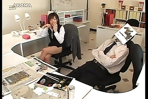 Japanese business lady likes to handjob with reference to office