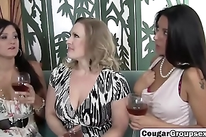 Three horny MILF`s sharing a passenger car mechanics chubby cock