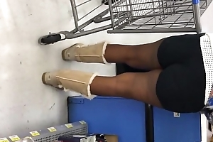 Candid -  Ebony Booty Cheeks in Hotpants and Ugg Boots