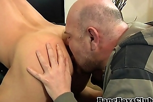 Euro amateur hunk cocksucked with an increment of rimmed