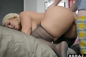 BBW stepmom is simmering and wants a young cock in her chunky ass