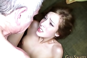 Teen rides old mans cock