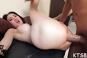 Horseshit drives on touching tranny'_s anal opening