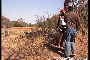 Unendurable African slut outdoors tied up beamy tits