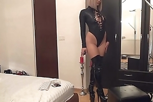 cam girl in leo tights boots
